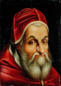 XIR212502 Pope Sixtus V (1520-90) (oil on canvas) by Italian School, (16th century) oil on canvas Chateau de Versailles, France Lauros / Giraudon Italian, out of copyright